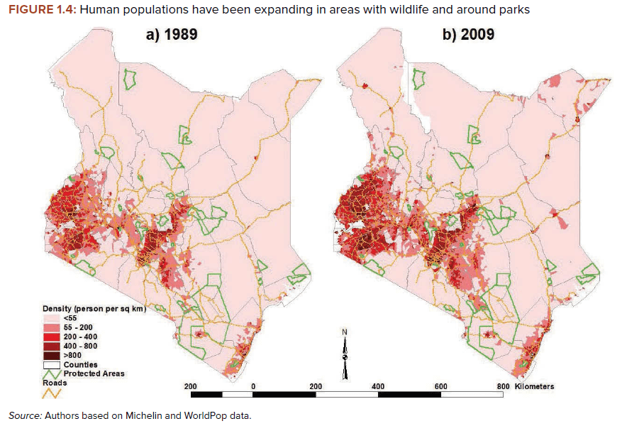 Figure 1.4: Human populations have been expanding in areas with wildlife and around parks 1989 versus 2009 | Source: World Bank