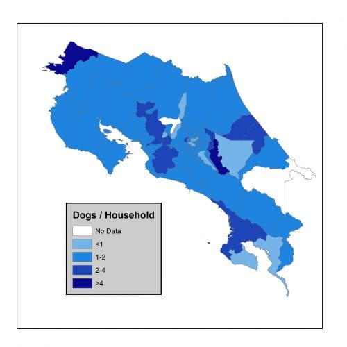 Map of Costa Rica showing dogs per household