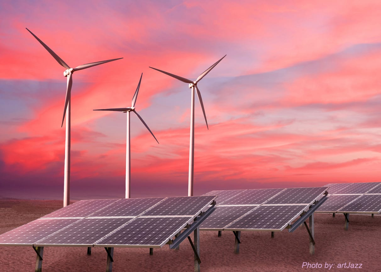 Wind turbines and solar panels as alternative renewable energy.