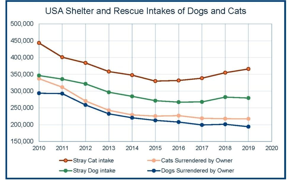 Table: USA Shelter and Rescue Intakes of Dogs and Cats